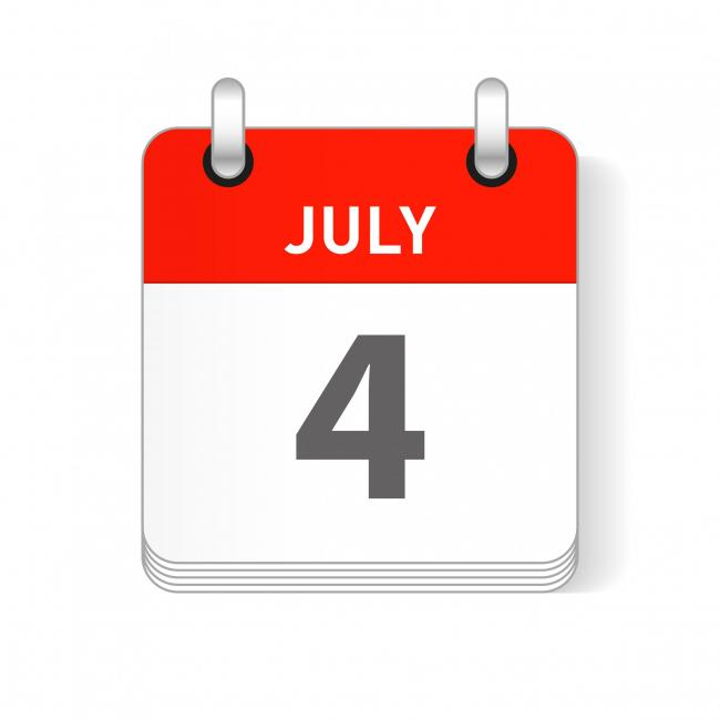 July 4 date visible on a page a day organizer calendar