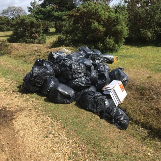 The waste dumped at Crockford Clump by fly-tippers. Picture: Forestry England.