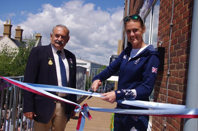 Heather Stanning and Mark Viner at the opening of Lymington Rowing Club's new facility