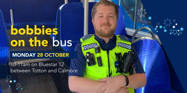 Connor De Mornay from Hampshire Constabulary on a Bluestar bus.
