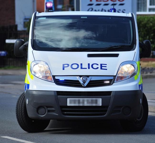 Stock photograph of a West Mercia Police Van on London Road, Worcester. 6.4.16  1416030601.