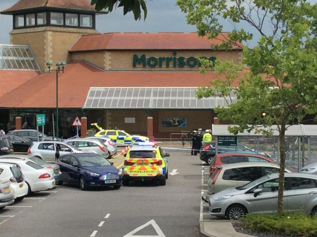 Police at the scene of the crash at Morrison's in Totton