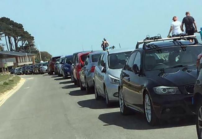 Cars parked at Lepe Beach yesterday