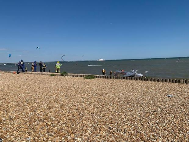 "New Forest Post: A ""small"" aircraft crashed into the sea at Calshot Spit. Photo:Christina Grindey"