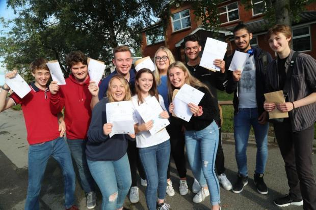 Students receiving their A-Level results in 2019