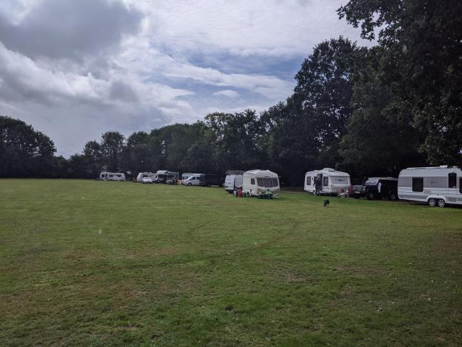 Travellers arrive at King George V Playing Ground, Totton