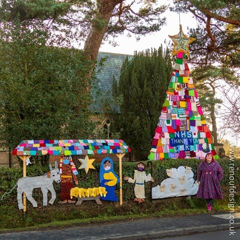 A 7m wolly Christmas tree and knitted nativity in Pennington, New Forest