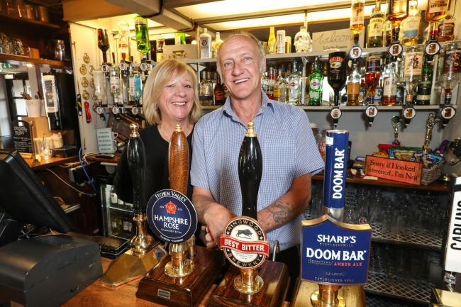 Watering Hole Feature at the Borough Arms pub in Lymington - Owners Debbie and Carl Millward.