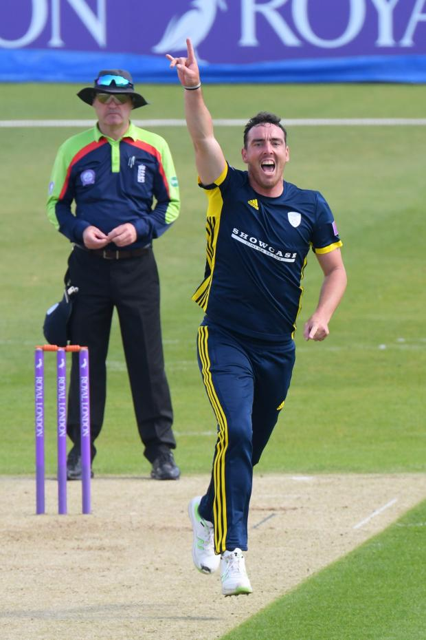 New Forest Post: Kyle Abbott celebrates one of his wickets today (Photo by Neil Marshall/YASPS)